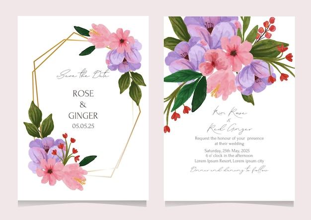 Cartão de convite de casamento com flores em aquarela em rosa e lilás
