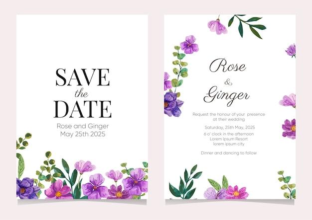 Cartão de convite de casamento com flores em aquarela Vetor Premium