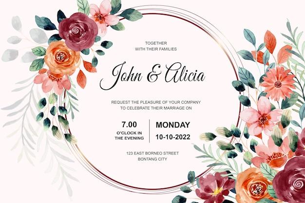 Cartão de convite de casamento com flores em aquarela