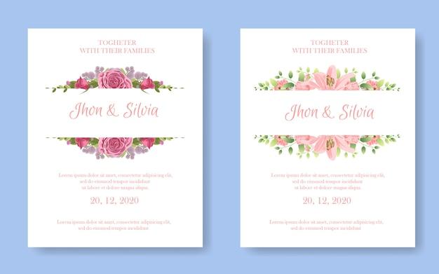 Cartão de convite de casamento com flores lindas conjunto