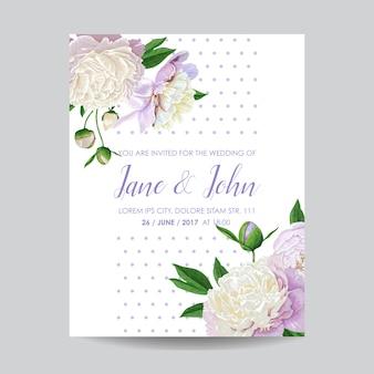 Cartão de convite de casamento com flores peônias