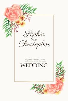Cartão de convite de casamento com flores rosa nos cantos.
