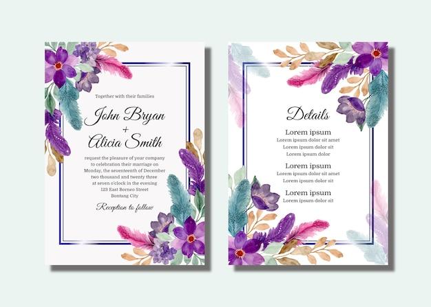 Cartão de convite de casamento com flores roxas e penas com aquarela