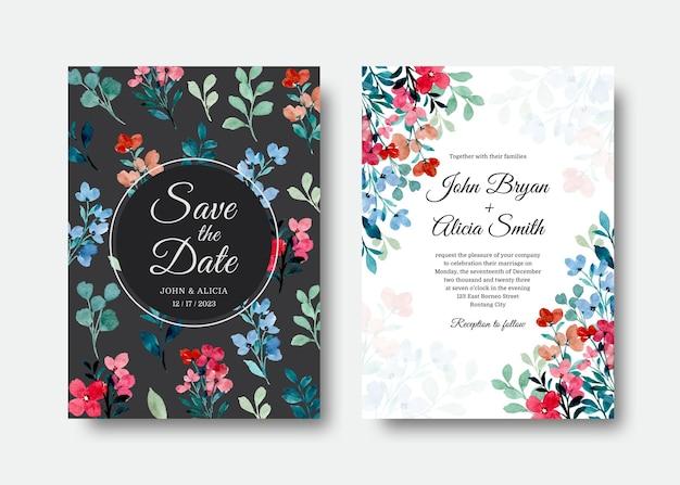 Cartão de convite de casamento com flores silvestres em aquarela