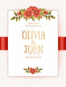 Cartão de convite de casamento com flores