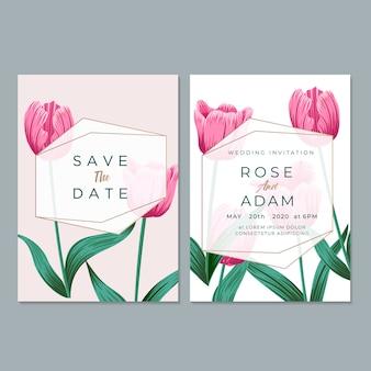 Cartão de convite de casamento com folha e fundo floral
