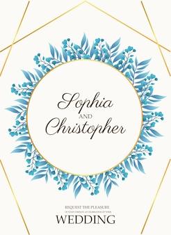 Cartão de convite de casamento com folhas azuis e ilustração de moldura circular dourada