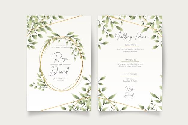 Cartão de convite de casamento com folhas de aquarela