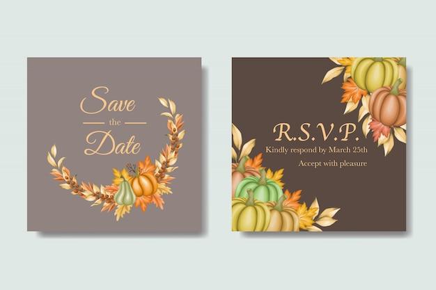 Cartão de convite de casamento com folhas de outono