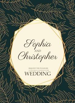 Cartão de convite de casamento com folhas douradas e ilustração de moldura