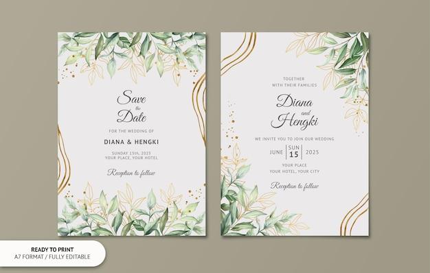 Cartão de convite de casamento com folhas em aquarela de ouro