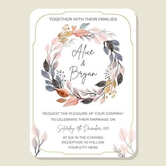Cartão de convite de casamento com folhas em aquarela