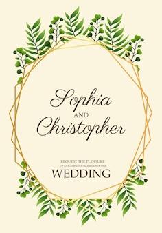 Cartão de convite de casamento com folhas em ilustração em moldura dourada