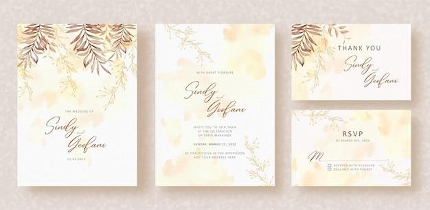 Cartão de convite de casamento com folhas florais exóticas de outono