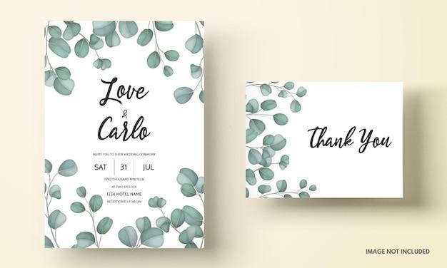Cartão de convite de casamento com folhas verdes de eucalipto