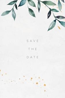 Cartão de convite de casamento com folhas verdes
