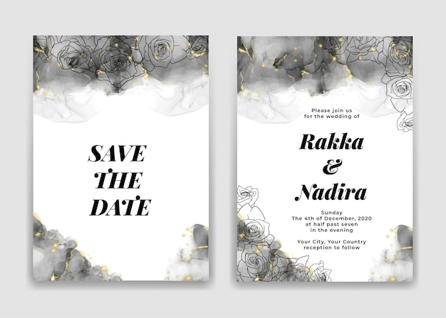Cartão de convite de casamento com formas de ondas pretas douradas e rosa