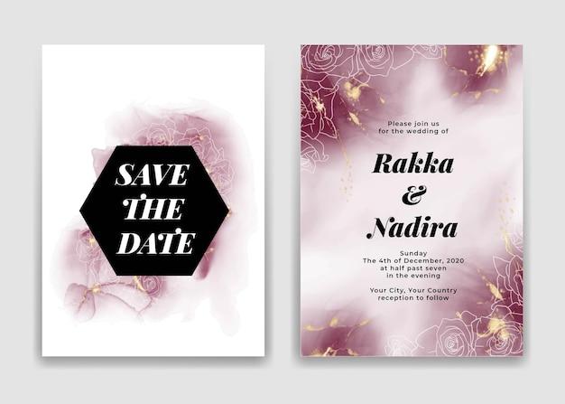 Cartão de convite de casamento com formas douradas de ondas cor de vinho e rosa