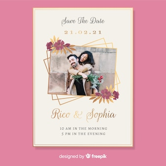 Cartão de convite de casamento com foto