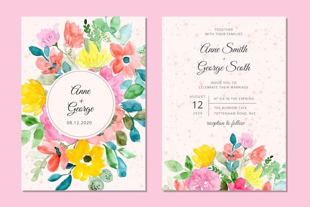 Cartão de convite de casamento com fundo aquarela floral doce