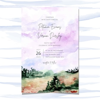 Cartão de convite de casamento com fundo aquarela paisagem