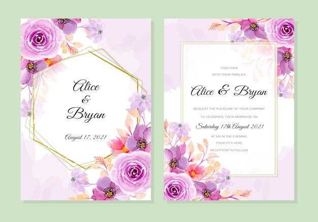 Cartão de convite de casamento com fundo aquarela roxo suave