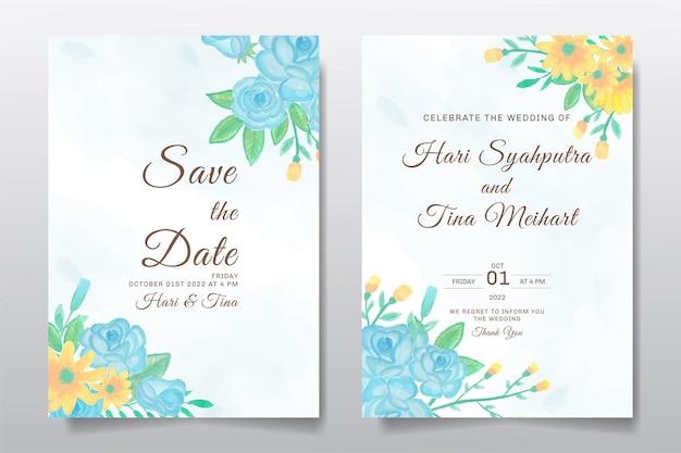 Cartão de convite de casamento com fundo de desenho de folhas ou flores em aquarela