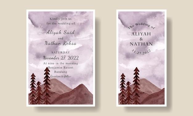 Cartão de convite de casamento com fundo de floresta de céu roxo em aquarela editável