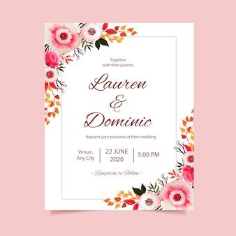 Cartão de convite de casamento com fundo de quadro em aquarela de flores