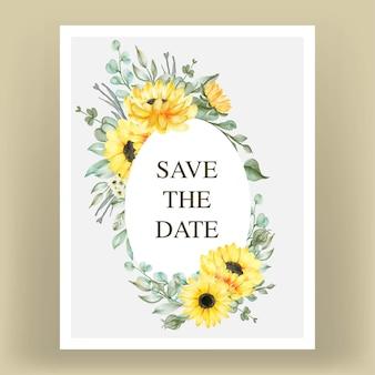 Cartão de convite de casamento com girassóis