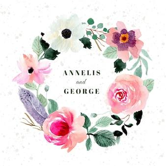 Cartão de convite de casamento com guirlanda floral