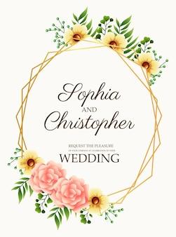 Cartão de convite de casamento com ilustração de flores em moldura rosa e dourada