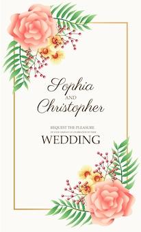 Cartão de convite de casamento com ilustração de flores rosa e moldura quadrada dourada