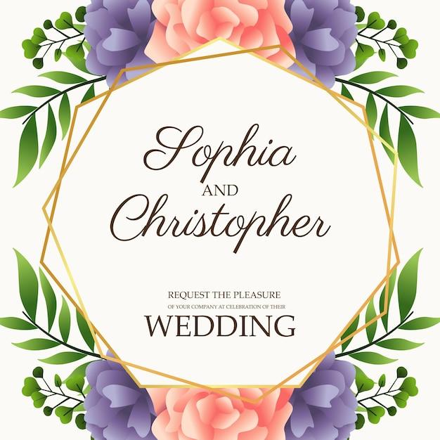 Cartão de convite de casamento com ilustração de flores rosa e roxa