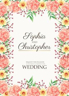 Cartão de convite de casamento com ilustração de moldura de flores rosa