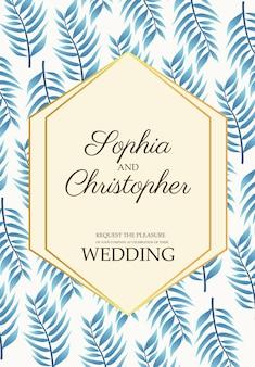 Cartão de convite de casamento com ilustração de padrão de folhas azuis
