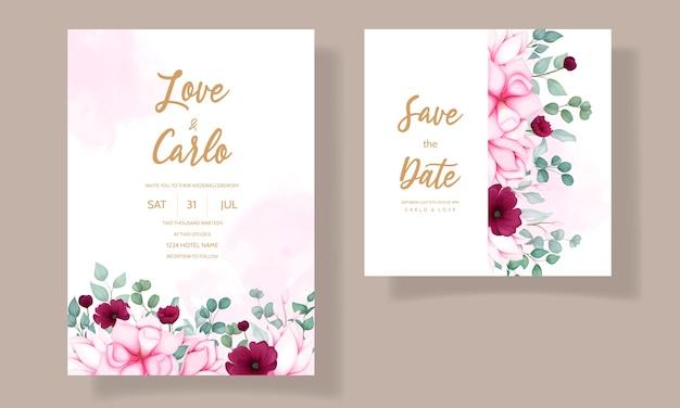 Cartão de convite de casamento com linda flor de magnólia