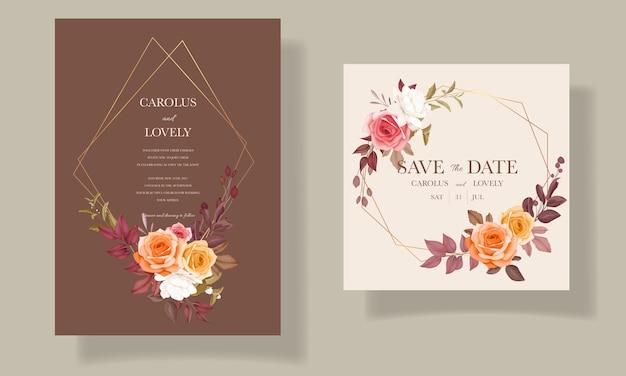 Cartão de convite de casamento com linda flor e folhas outono outono