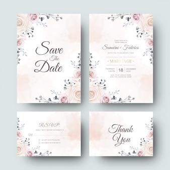 Cartão de convite de casamento com linda flor em aquarela e folhas