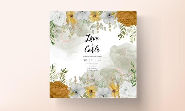 Cartão de convite de casamento com lindas flores de outono