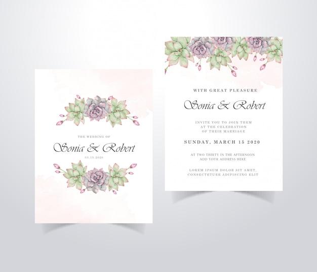 Cartão de convite de casamento com lindas flores em aquarela e folhas