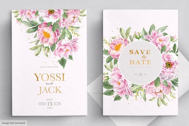 Cartão de convite de casamento com lindas flores
