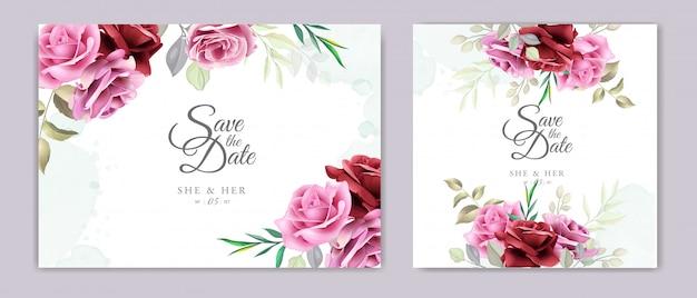 Cartão de convite de casamento com lindas rosas e folhas
