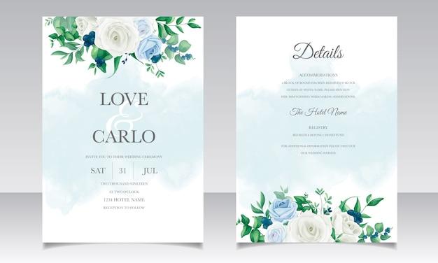 Cartão de convite de casamento com lindas rosas, folhas de hortaliças e mirtilos