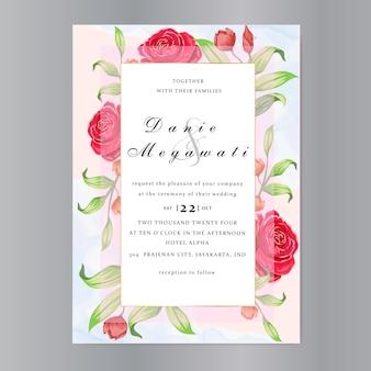 Cartão de convite de casamento com lindas rosas modelo