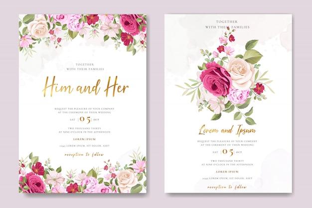 Cartão de convite de casamento com lindas rosas
