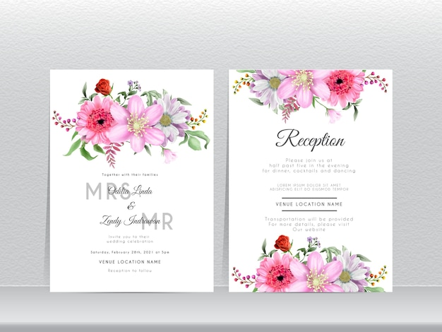 Cartão de convite de casamento com lindo desenho de flor de margarida