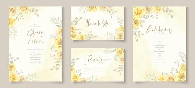 Cartão de convite de casamento com lindo design de flor rosa amarela