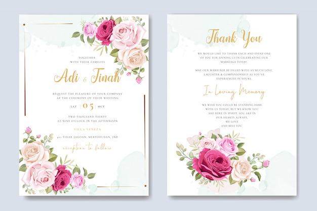 Cartão de convite de casamento com lindo floral e folhas modelo
