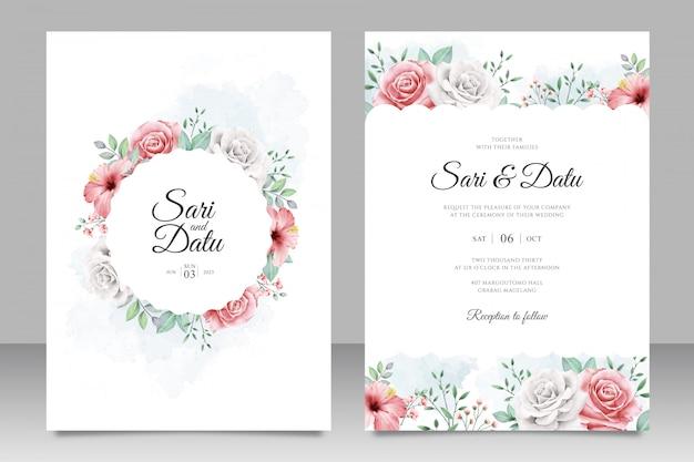 Cartão de convite de casamento com lindo jardim de flores